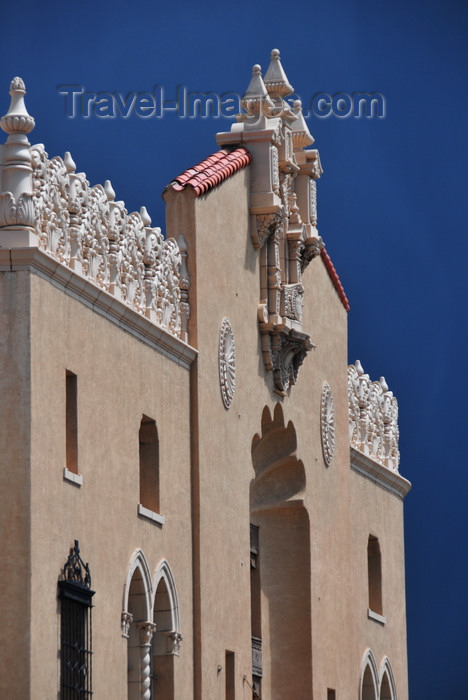 usa1559: Santa Fé, New Mexico, USA: Lensic Theater - Santa Fé's Performing Arts Center - revival Mudéjar style façade designed by German-American architects Carl Heinrich Boller and Robert Otto Boller - dark sky before a storm - photo by M.Torres - (c) Travel-Images.com - Stock Photography agency - Image Bank