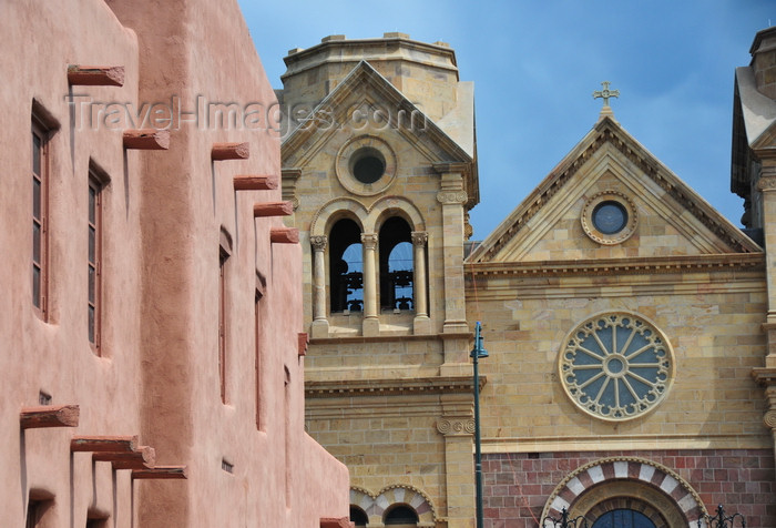 usa1562: Santa Fé, New Mexico, USA: Saint Francis Cathedral and Institute of American Indian Arts - seen from East San Francico street - photo by M.Torres - (c) Travel-Images.com - Stock Photography agency - Image Bank