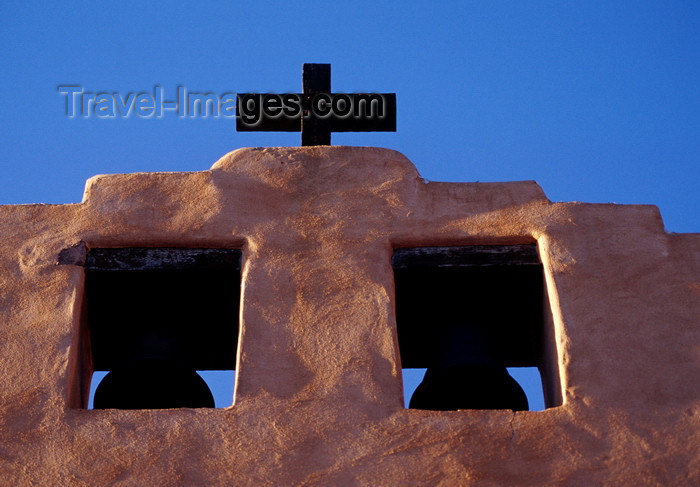 usa1572: Santa Fé, New Mexico, USA: bell-cote - bells and cross of the First Presbyterian Church, founded by the Rev. David McFarland - oldest protestant church in New Mexico, built in 1867 - Grant Avenue - photo by C.Lovell - (c) Travel-Images.com - Stock Photography agency - Image Bank