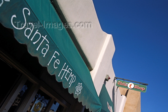 usa1579: Santa Fé, New Mexico, USA: awning of the Santa Fé Hemp Shop - Chile Shop in the background - East Water Street - photo by C.Lovell - (c) Travel-Images.com - Stock Photography agency - Image Bank