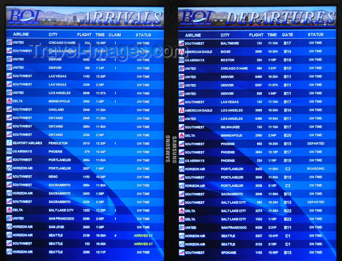 usa1706: Boise, Idaho, USA: arrivals and departures list - Boise Airport - Gowen Field - BOI - photo by M.Torres - (c) Travel-Images.com - Stock Photography agency - Image Bank