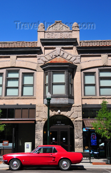 usa1730: Boise, Idaho, USA: Gem and Noble Building and red Mustang - Romanesque architecture - facade on 10th street - photo by M.Torres - (c) Travel-Images.com - Stock Photography agency - Image Bank