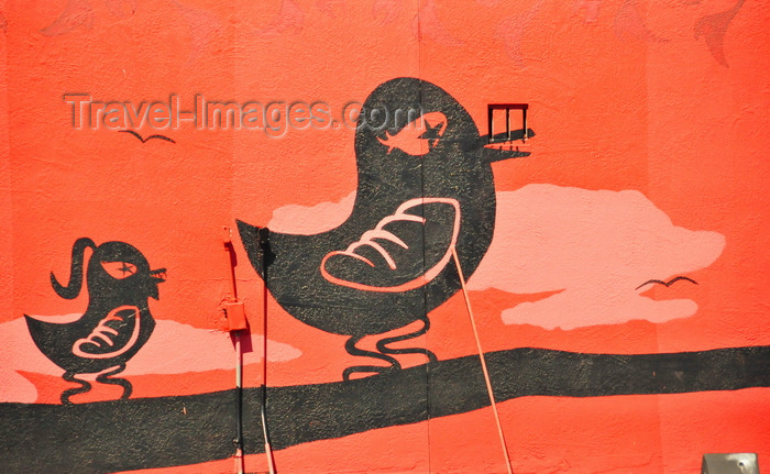usa1731: Boise, Idaho, USA: Hitchcock Building - painting of birds on a branch - mural by Fred Choate - 11th Street - photo by M.Torres - (c) Travel-Images.com - Stock Photography agency - Image Bank