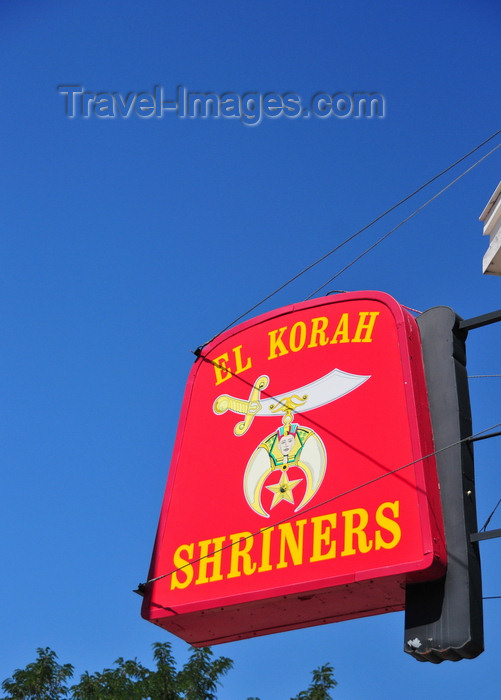 usa1732: Boise, Idaho, USA: El Korah Shriners - Scimitar and Crescent sign at 1118 West Idaho Street - para-Masonic Ancient Arabic Order of the Nobles of the Mystic Shrine - photo by M.Torres - (c) Travel-Images.com - Stock Photography agency - Image Bank