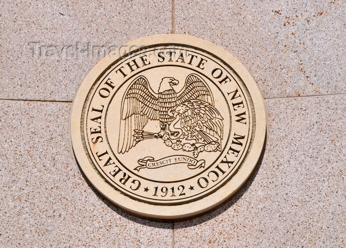usa205: Santa Fé, New Mexico, USA: Mexican and American eagles - Great Seal of the State of New Mexico - New Mexico Veterans memorial - Galisteo Street - photo by M.Torres - (c) Travel-Images.com - Stock Photography agency - Image Bank