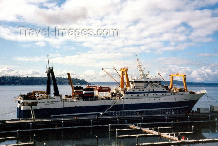usa330: Seattle, Washington, USA: Russian fishing vessel from Vladivostok - the Boris Grodimenko - photo by M.Torres - (c) Travel-Images.com - Stock Photography agency - Image Bank