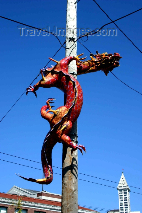 usa332: Seattle, Washington, USA: Chinatown - dragon on a pole - photo by R.Ziff - (c) Travel-Images.com - Stock Photography agency - Image Bank