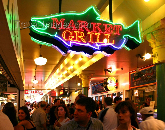 usa335: Seattle, Washington, USA: Pike's Peak Market - inside - Grill sign - photo by R.Ziff - (c) Travel-Images.com - Stock Photography agency - Image Bank