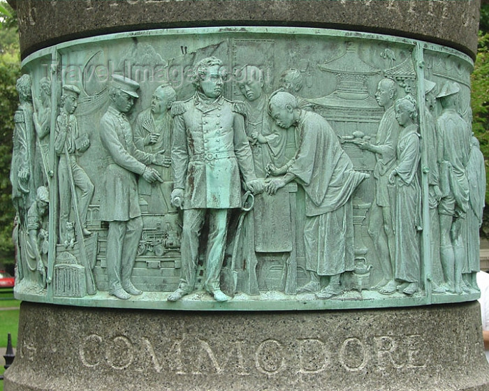 usa354: Newport, Rhode Island, USA: Commodore Perry opens Japan to the World - detail of monument - photo by G.Frysinger - (c) Travel-Images.com - Stock Photography agency - Image Bank