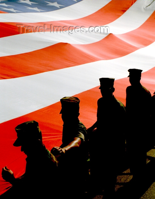 usa464: Washington D.C., USA: soldiers and a giant American flag - parade - patriotic image - photo by G.Friedman - (c) Travel-Images.com - Stock Photography agency - Image Bank