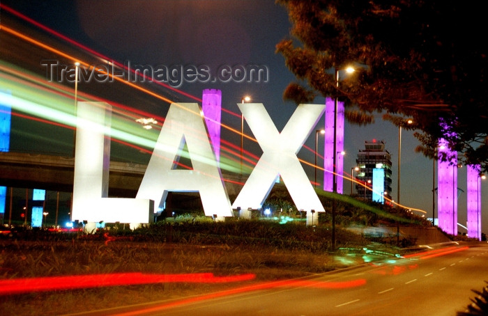 usa472: Los Angeles (California): LAX - airport code - sign that greets motorists at the Los Angeles International Airport - Photo by G.Friedman - (c) Travel-Images.com - Stock Photography agency - Image Bank
