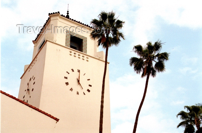 usa473: Los Angeles / LAX (California): Union Station - clock tower - Photo by G.Friedman - (c) Travel-Images.com - Stock Photography agency - Image Bank