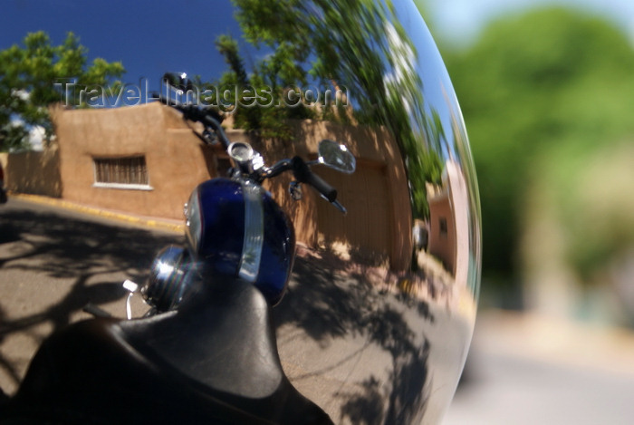 usa506: Santa Fé, New Mexico, USA: motorcycle and adobe house, reflection in a helmet - photo by A.Ferrari - (c) Travel-Images.com - Stock Photography agency - Image Bank