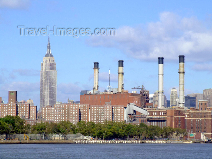 usa618: Manhattan (New York City): power station and Empire State building - photo by M.Bergsma - (c) Travel-Images.com - Stock Photography agency - Image Bank