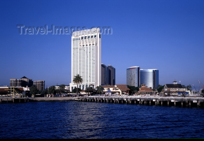 usa957: San Diego (California): Sea Port with Hyatt and Marriott hotels in background - photo by J.Fekete - (c) Travel-Images.com - Stock Photography agency - Image Bank