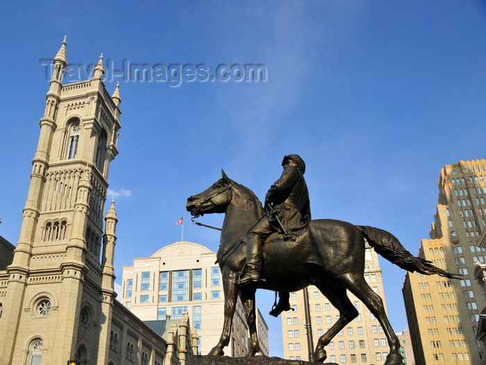 usa985: Philadelphia, Pennsylvania, USA: Masonic Temple of the Grand Lodge of Philadelphia - North Broad Street - equestrian statue of General George B. McClellan, served the Union in the American Civil War - photo by M.Torres - (c) Travel-Images.com - Stock Photography agency - Image Bank