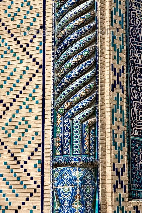 uzbekistan7: Colourful Tiles, Kalon Mosque, Bukhara - photo by A.Beaton  - (c) Travel-Images.com - Stock Photography agency - Image Bank