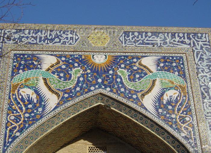 uzbekistan8: Bukhara, Uzbekistan: Lyab-i-Hauz complex - Phoenix on the portal of Nadir Divan-Beghi madrasah - tiles on the iwan - photo by J.Marian - (c) Travel-Images.com - Stock Photography agency - Image Bank