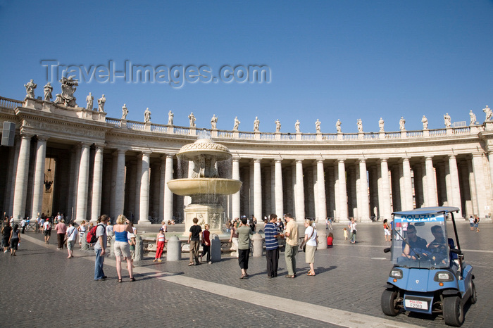 vatican46: Vatican City, Rome - Saint Peter's square - police 'car' and colonnade with an entabulature of the simple Tuscan Order, designed by Bernini - photo by I.Middleton - (c) Travel-Images.com - Stock Photography agency - Image Bank