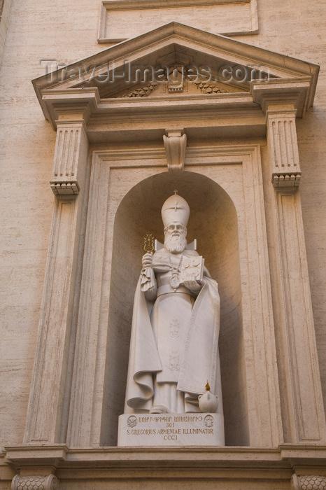 vatican50: Vatican City, Rome - Saint Peters Basilica - Carrara marble statue of St. Gregory the Illuminator holding the Armenian Holy Cross - by Khatchik Kazandjian - photo by I.Middleton - (c) Travel-Images.com - Stock Photography agency - Image Bank