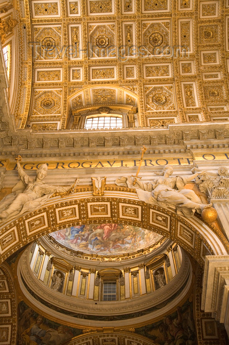 vatican56: Vatican City, Rome - inside Saint Peters Basilica - ceiling of the nave and a side chapel - photo by I.Middleton - (c) Travel-Images.com - Stock Photography agency - Image Bank