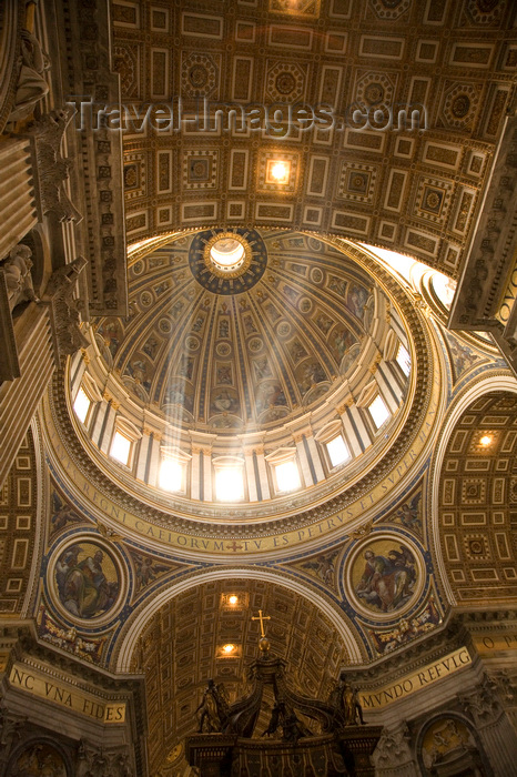 vatican57: Vatican City, Rome - inside Saint Peters Basilica - rays of light enter the dome - photo by I.Middleton - (c) Travel-Images.com - Stock Photography agency - Image Bank