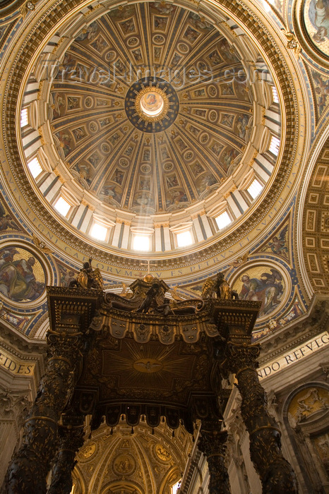 vatican58: Vatican City, Rome - inside Saint Peters Basilica -  Bernini's baldacchino and the dome - photo by I.Middleton - (c) Travel-Images.com - Stock Photography agency - Image Bank
