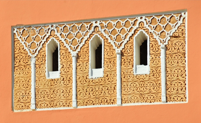 western-sahara100: Laâyoune / El Aaiun, Saguia el-Hamra, Western Sahara: windows and decoration of the minaret at the Moulay Abdel Aziz Great Mosque - photo by M.Torres - (c) Travel-Images.com - Stock Photography agency - Image Bank
