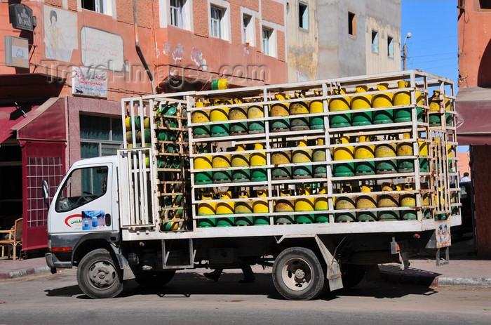 western-sahara68: Laâyoune / El Aaiun, Saguia el-Hamra, Western Sahara: gas cylinders on a distribution truck - Blvd de Mekka - photo by M.Torres - (c) Travel-Images.com - Stock Photography agency - Image Bank