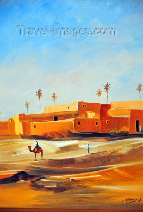 western-sahara7: Laâyoune / El Aaiun, Saguia el-Hamra, Western Sahara: camel and desert village - painting by El Hassani - photo by M.Torres - (c) Travel-Images.com - Stock Photography agency - Image Bank