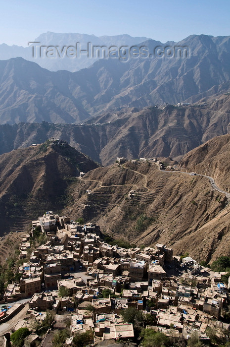 yemen115: Hajjah, Yemen: mountains and part of the town - photo by J.Pemberton - (c) Travel-Images.com - Stock Photography agency - Image Bank