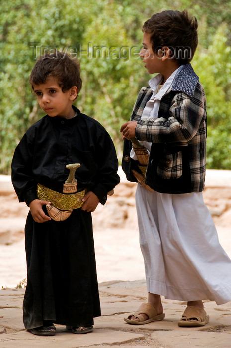 yemen12: Wadi Dhahr, Al-Mahwit Governorate, Yemen: young boys with Jambiyya daggers - photo by J.Pemberton - (c) Travel-Images.com - Stock Photography agency - Image Bank