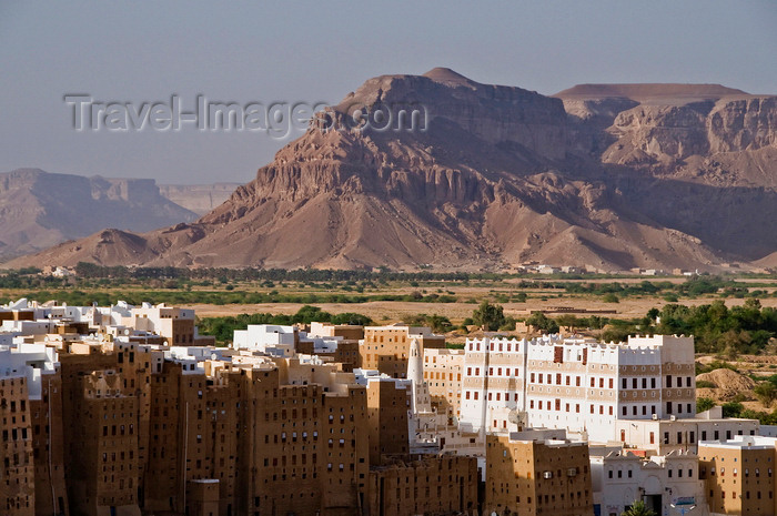 yemen59: Shibam, Hadhramaut Governorate, Yemen: buildings of the Old Walled City of Shibam with views to the mountains beyond - UNESCO World Heritage Site - the Manhattan of the desert - the tallest mud buildings in the world  - photo by J.Pemberton - (c) Travel-Images.com - Stock Photography agency - Image Bank