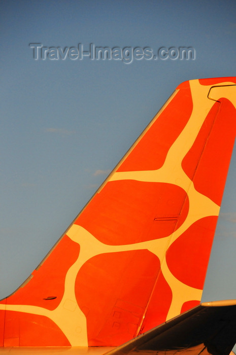 zambia10: Lusaka, Zambia: giraffe themed tail of Zambezi Airlines Boeing 737-5Y0, 9J-ZJB cn 26100 - Lusaka / Kenneth Kaunda International Airport - LUN - photo by M.Torres - (c) Travel-Images.com - Stock Photography agency - Image Bank