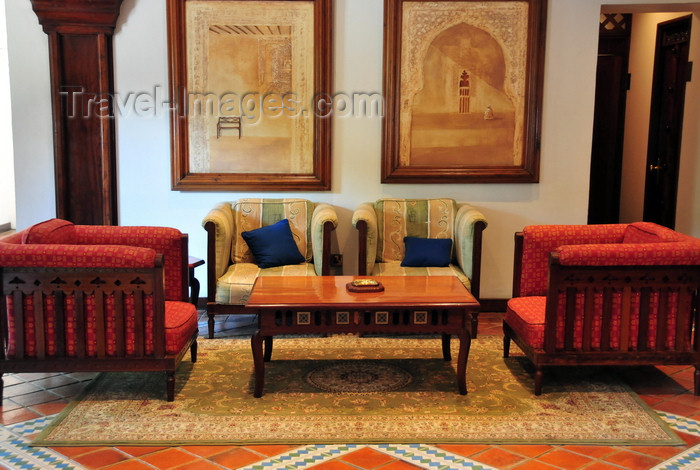 zanzibar102: Stone Town, Zanzibar, Tanzania: elegant hotel lobby - Zanzibar Serena Inn - couches, carpet and paintings - colonial furniture - Shangani - photo by M.Torres - (c) Travel-Images.com - Stock Photography agency - Image Bank