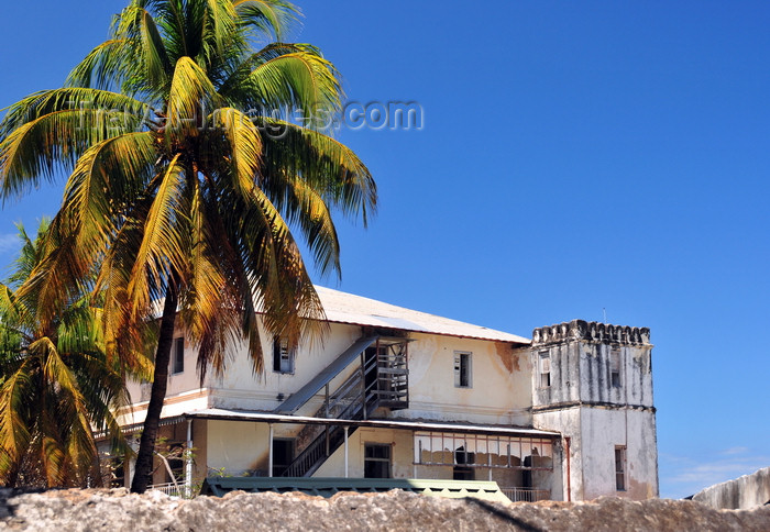zanzibar106: Stone Town, Zanzibar, Tanzania: coconut trees and old mansion - Shangani - photo by M.Torres - (c) Travel-Images.com - Stock Photography agency - Image Bank
