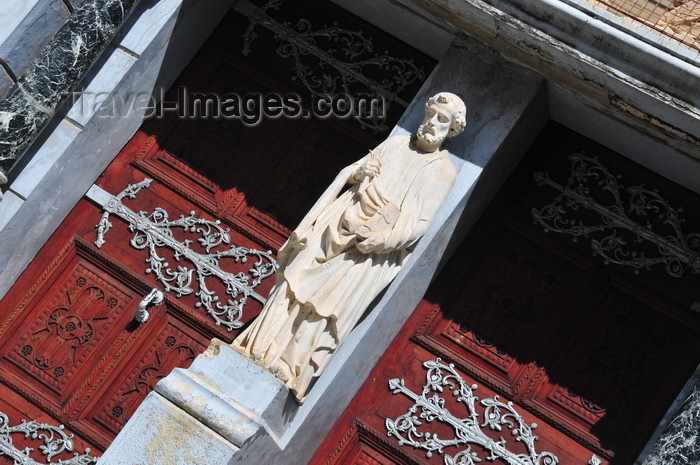 zanzibar154: Stone Town, Zanzibar, Tanzania: St Joseph's Catholic Cathedral, double gate with the saint's statue - between Baghani and Soko Muhogo areas - photo by M.Torres - (c) Travel-Images.com - Stock Photography agency - Image Bank