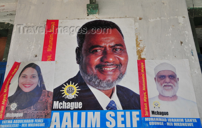 zanzibar181: Stone Town, Zanzibar, Tanzania: electoral campaign posters, including a female candidate - Soko Muhogo area - photo by M.Torres - (c) Travel-Images.com - Stock Photography agency - Image Bank