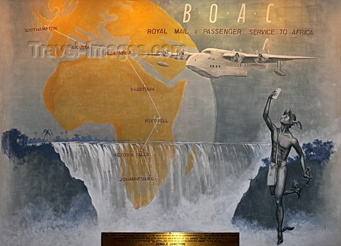 zimbabwe1: Victoria Falls, Matabeleland North, Zimbabwe: Victoria Falls Hotel - mural commemorating the flying boat service between Southampton and Johannesburg - the journey took four days, including overnight stops - BOAC Short Solent 3 G-AHIN Southampton - Jungle Junction stopover - British Overseas Airways Corporation - Marcury, falls and maps - photo by M.Torres - (c) Travel-Images.com - Stock Photography agency - Image Bank
