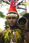 PNG - Papua New Guinea - Male performer & drum, Ali Island (photo by B.Cain)