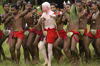 PNG - Papua New Guinea - Male Performers, albino performer 2, Kitava Island (photo by B.Cain)