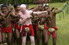 PNG - Papua New Guinea - Male performers, albino performer, Kitava Island (photo by B.Cain)