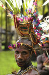 PNG - Papua New Guinea - Murik lakes region - Man with colorful headdress, Murick Lakes (photo by B.Cain)