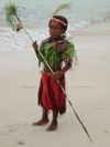 PNG - Papua New Guinea - Young boy on beach in costume, Ali Island (photo by B.Cain)