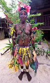 PNG - Papua New Guinea - Colorful woman posing for camera, Tuam Island - photo by B.Cain
