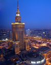 Poland - Warsaw: Palace of Culture and Science - evening - photo by J.Kaman