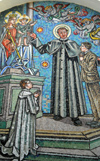 Portugal - Mogofores (Anadia): Saint John Bosco, born Giovanni Melchiorre Bosco, and the children - mosaic at Our Lady of Assistance sanctuary  - the Salesian Society - S�o Jo�o Bosco e as crian�as - painel no Santu�rio de Nossa Senhora Auxiliadora - photo by M.Durruti