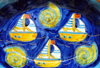 Óbidos, Portugal: decorated ceramic - sea motives - travessa com motivos marítimos - photo by M.Durruti