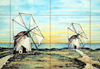 Óbidos, Portugal: tiles -  windmills by the sea - azulejos - moinhos junto ao mar - photo by M.Durruti