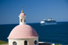 Puerto Rico - San Juan: cemetery chapel and cruise ship (photo by D.Smith)